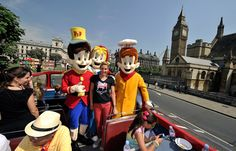 Summer Sanders tours London with some colorful Kelloggs characters