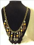 Gold plated chain necklace with fall leaves and beads