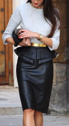 Grey + gold belted, black leather skirt.