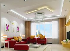 Pop ceiling designs for small living room with chandlier and red sofa set
