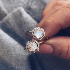 """LOCAL ECLECTIC on Instagram: """"The beauty of these rings is how different they look in every light. Hexagon Moonstone & Diamond rings from Carrie Elizabeth available at…"""""""