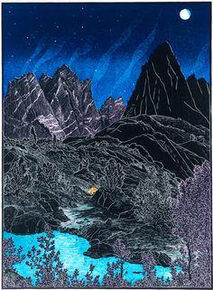 Isosceles Peak from Dusy Basin ~ Woodcut, 18.5 x 13.5 inches ~ Tom Killion