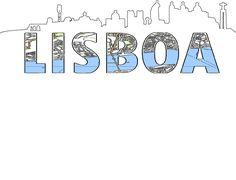 Silueta de skyline y Mapa de Lisboa
