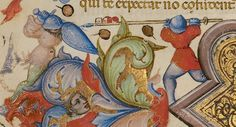 """A leaf from a manuscript: """"Christ in Majesty; Initial A: A Man Lifting His Soul to God"""" - what we care about is the sword and shield guy fighting the spear guy!  Master of the Brussels Initials (illuminator) [Italian, active about 1389 - 1410]"""