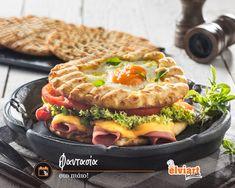 Ας γιορτάσουμε την Παγκόσμια Ημέρα Δημιουργικότητας & Καινοτομίας με μία ευφάνταστη συνταγή: Σε ένα τηγάνι με λίγο λάδι ζεσταίνουμε μία πίτα Κλασική #Elviart. Παίρνουμε μία δεύτερη πίτα και κάνουμε μια τρύπα στη μέση με ένα κουπάτ ή ένα ποτήρι. Καθώς την τηγανίζουμε, τοποθετούμε ένα αυγό στην τρύπα. Στήνουμε το sandwich βάζοντας τα υλικά της αρεσκείας μας και έπειτα σκεπάζουμε με την πίτα που έχει στο κέντρο το τηγανιτό αυγό. #WCID #recipe #cookingathome#pita #pitabread #flatbread… Sausage, Seasons, Meat, Food, Meal, Sausages, Eten, Seasons Of The Year, Meals