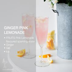 GINGER PINK LEMONADE   • 150ml Pink Lemonade flavored sparkling water • Ginger  • 30ml Gin  • Ice. Prepare the flavoured sparkling water: Fizz 1 bottle of cold water. Flavour with SodaStream Pink Lemonade sparkling water. Mix well. Peel the ginger and cut to small cubes. Place the cubes in a blender or food processor until it turns to a puree. Add ice to the top of the glass. Add the mashed ginger and Gin. Top with 150ml of Pink Lemonade flavoured sparkling water. Stir gently and enjoy!
