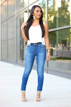 A basic pair of jeans can look a million bucks with the perfect top and heels.