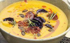 Pumpkin Cream Soup with WW Chorizo - Main Course and Recipe - Pumpkin cream soup with WW chorizo, recipe for a delicious creamy cream soup, so fragrant and delic - Healthy Food Tumblr, Tumblr Food, Chorizo, Cream Of Pumpkin Soup, Cream Soup, Almond Joy, Snack Recipes, Healthy Recipes, Keto