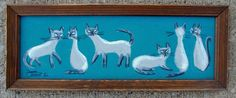 EL GATO GOMEZ PAINTING RETRO SIAMESE CAT ILLUSTRATION KITSCHY 1950S MID CENTURY #Modernism