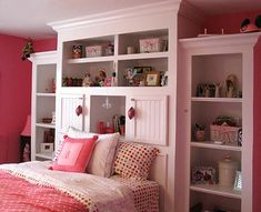 Love the built in shelving units and extra storage space. Really cute for a girl's room