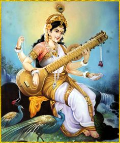 In Hinduism, Saraswati is the goddess of knowledge, music, arts and science. She is part of a Hindu trinity and also revered by the Jains. The Jains are a branch of Hinduism. Saraswati Mata, Saraswati Goddess, Indian Goddess, Goddess Art, Arte Krishna, Art Indien, Art Magique, Divine Mother, Sacred Feminine