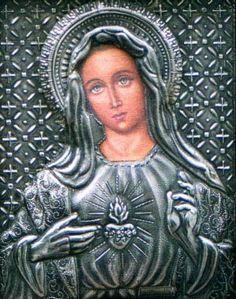 Rocío Heredia, Designer Metalsmith. Specializing in Chasing and Repousse to raise intricate designs on metals - Corazon Immaculado de la Virgen Maria, 1999.