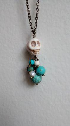 white skull pendant necklace. by irasemasjewelrybox on Etsy