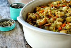 Family Feedbag: Simple Oven-Baked Stuffing - Best Ever 2019 Make Ahead Stuffing, Homemade Stuffing, Stuffing Recipes, Baked Stuffing, Turkey Stuffing, Thanksgiving Recipes, Holiday Recipes, Thanksgiving Feast, Holiday Meals