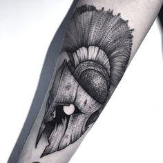 Trojan warrior helmet #linework #dotwork #tattoo