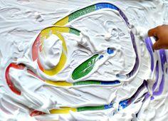 "Rainbow writing with sensory shaving cream - from Blog Me Mom ("",)"