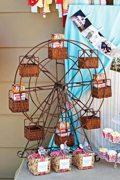 Ferris wheel of treats at a vintage circus birthday party! See more party ideas at CatchMyParty.com!