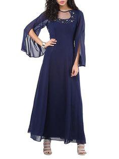 LadyIndia.com # Long Dresses, Navy Blue Embellished Georgette Maxi Dress Designer Bat Sleeves Style Long Maxi Dresses Online, Dress, Party Wear Dress, Long Dresses, Western Wear, Club Wear, Maxi Dress, https://ladyindia.com/collections/western-wear/products/navy-blue-embellished-georgette-maxi-dress-designer-bat-sleeves-style-long-maxi-dresses-online?variant=31540213837