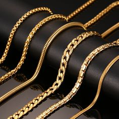 Vnox 24inch Gold Plated Chain Necklace Long Stainless Steel Metal