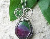 Wire Wrapped Pendant, Silver Wire Wrapped Pendant, Ruby Zoisite Silver Wire Wrapped Pendant