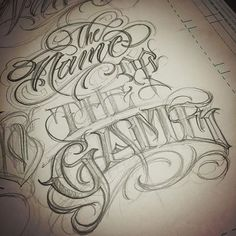 It's The Name Of The Game... #originaldukecityink #porkydukecityink #lettering #script #letterstyles #pencilsketch @dukecityink Doodle Alphabet, Hand Lettering Alphabet, Script Lettering, Lettering Design, Typography, Tattoo Lettering Styles, Tattoo Design Drawings, Tattoo Script, Tattoo Fonts