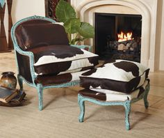 "Cowhide Bergere Chair and Ottoman_$6,298.00_ Item # 9991-SET_ Classic, French curves meet hefty, hair-on hide. Overstuffed, down-filled cushions with brown leather welt. European beech frames in antiqued, turquoise painted finish with nail trim. Accent pillow included. Made in the USA. Available to ship immediately. Chair-34"" W x 37"" H x 35"" D_ Ottoman-28"" W x 18"" H x 20"" D."