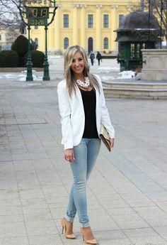 BLACK AND WHITE BASICS  , Pull   & Bear in Blazers, Pull   & Bear in Jeans, Zara in Jewelry, Invuu London in Clutches, Zara in Heels / Wedges