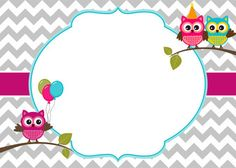 Owl party invitation card template with white frame for your text Owl Birthday Invitations, Party Invitations, Boarders And Frames, School Labels, Owl Card, Binder Covers, Invitation Cards, Poster, Baby Shower