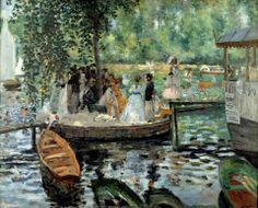 Auguste Renoir - La Grenouillère 1869 National Museum - Stokholm En 1869, Auguste Renoir et Claude Monet y installent leurs chevalets. Ils immortalisent ainsi le « camembert », un petit îlot planté d'un arbre unique, reliant l'île au bateau-ponton par des planches étroites et glissantes… qui provoquent chutes et baignades imprévues ! Bain à la Grenouillère peint par Monet est conservée au Metropolitan Museum of Art à New York tandis que La Grenouillère par Renoir fait partie de la collection…