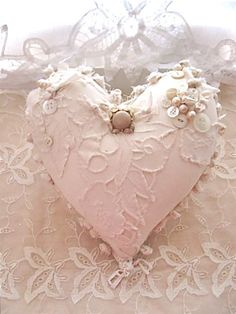 Fabric ooak heart pillow- pretty- creamy white shabby chic pillow- romantic Valentine heart pillow- fiber art- frayed edges