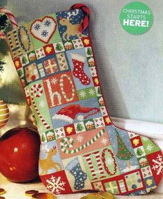 Gallery.ru / Patchwork Christmas stocking - Patchwork stocking - begi