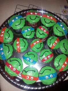 My 4 year old sons TMNT birthday cupcakes!
