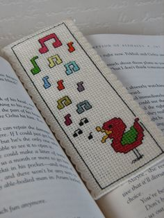 Bookmark Cross Stitch Pattern Singing Bird by stageappealcrafts, $2.50