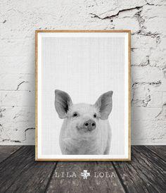 Pig Print Baby Piglet Wall Art Cute Farm Animal by lilandlola