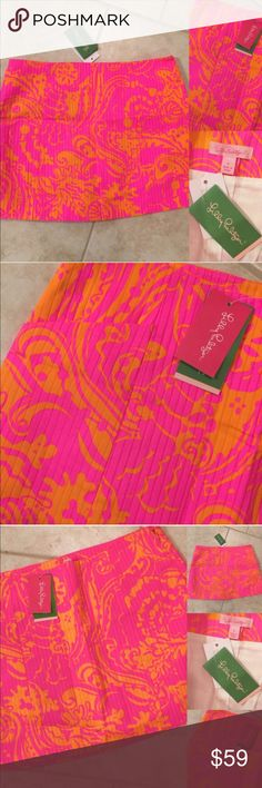 BRAND NEW!! 🎀 LILLY PULITZER NEON SKIRT, Size 8 Brand new with tags!  Gorgeous color & excellent colors!  (Glitch-the app will not let me upload to the party as Lilly Pulitzer, even though it follows the theme.)  Listing as Tory Burch for that reason only. 💗💗💗 A1PK Tory Burch Skirts Mini