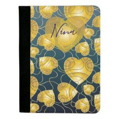 Golden Hearts Pattern Padfolio - golden gifts gold unique style cyo