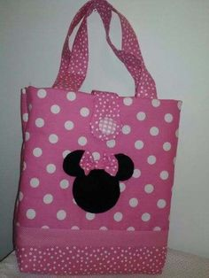 Minnie Mouse pink and white polka dot tote/diaper bag is 16 x 16 and has inside pockets perfect for carrying baby necessities or using it at Disney World! Bag matches the Minnie pink and white polka dot quilts. Baby Shower Gift Bags, Diaper Bag Purse, Minnie Mouse Pink, Mickey Mouse, Polka Dot Bags, Diy Tote Bag, Quilted Bag, Fabric Bags, Girls Bags