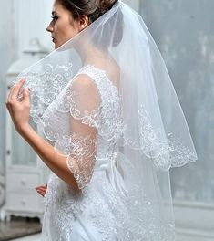 2 Tier wedding veil Embroidered bridal veil Lace veil Long  #weddingveil #bridalveil #fingertopveil #embroideredveil #veilwithblusher #2tierveil #2layerveil #whiteveil #shortveil #longveil #veilwithembroiderededge #etsywedding