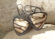 Triangle Zebra Jasper Copper Earrings by annamei on Etsy