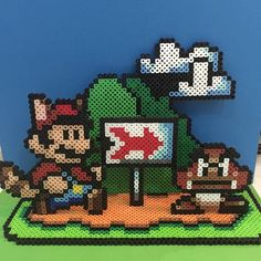 Super Mario diorama perler beads by juju_crafts Perler Beads, Perler Bead Mario, Fuse Beads, Melty Bead Patterns, Pearler Bead Patterns, Perler Patterns, Pixel Art, Super Mario, Animation Pixel