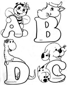 Colouring Pics, Coloring For Kids, Coloring Books, Coloring Pages, Alphabet Coloring, Alfabeto Animal, Hand Lettering Alphabet, Alphabet Design, Art Drawings For Kids