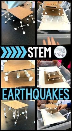 STEM Challenges for elementary students! Students will design and build a structure to withstand a simulated earthquake. Photos of ways to build the shake tray are included. Kids use only a few materials that are easy to gather for the teacher and will be Stem Science, Middle School Science, Science Experiments Kids, Science Lessons, Teaching Science, Science For Kids, Science Projects, Elementary Science Classroom, Middle School Stem