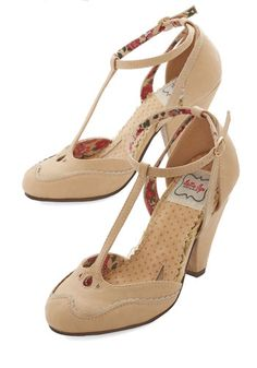 Classic Confection Heels in Tan. Savor an afternoon stroll down the Atlantic City boardwalk in these tan heels by Bettie Page. #modcloth