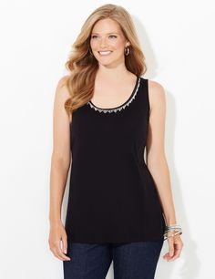 San Lorenzo Chain Fringe Tank | CatherinesInstantly add interest under any of your favorite jackets and blazers with our on-trend tank. Angled spurts of chainlinks dangle from the scoop neckline to create shimmering movement. Side slits at hem. Catherines tops are designed for the plus size woman to guarantee a flattering fit. #catherines #plussize #plussizefashion #blacklabel #tanktop #chains #fringe