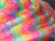 "LONG PILE Rainbow 1 Multi Stripe Fur Fabric 60/"" 150cm wide Pride"