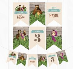 Masha and The Bear Banner Bear Party, Jungle Party, Woodland Party, Personalised Bunting, Personalized Banners, Bear Birthday, 2nd Birthday Parties, Marsha And The Bear, Happy Birthday Printable
