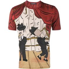 Dolce & Gabbana Musician Printed T-Shirt ($220) ❤ liked on Polyvore featuring men's fashion, men's clothing, men's shirts, men's t-shirts, red, mens patterned shirts, mens short sleeve cotton shirts, mens red t shirt, mens red shirt and dolce gabbana mens t shirts
