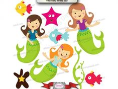 Splish Splash Little Mermaids Clipart - use for applique patterns on quilt