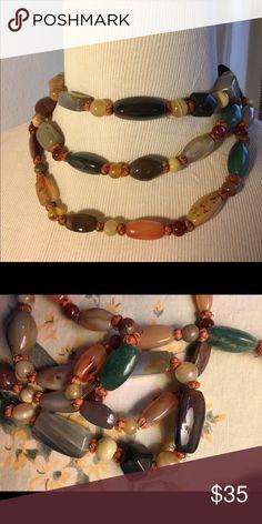 "Vintage Beaded Necklace 50"" of beautiful semi-precious stones. Very unique looking. Jewelry Necklaces"