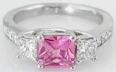 Fine Princess Cut Pink Sapphire and Diamond Ring. Free Shipping (GR-5567)